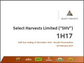 Select Harvests 2017 First Half Results